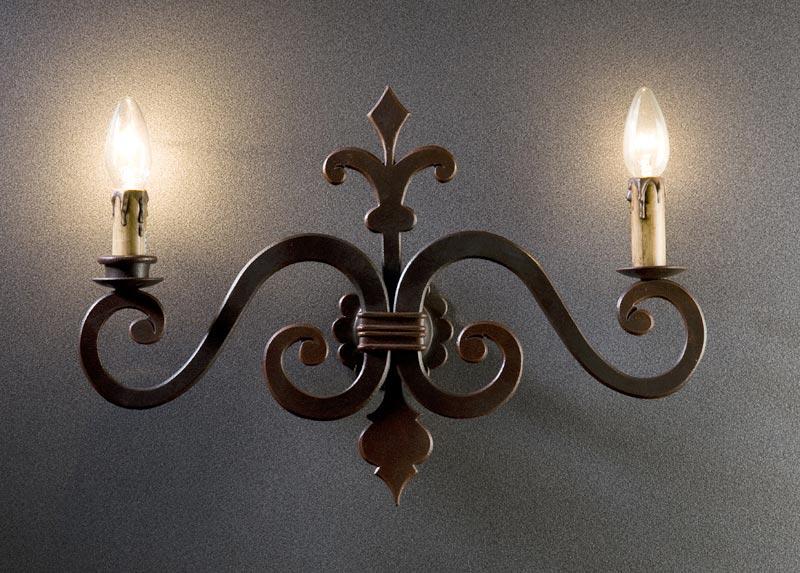 Fabbro zino ferro battuto artistico applique a parete luci
